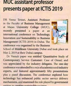 MUC Assistant professor presents paper at ICTIS 2019