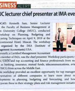 MUC lecturer chief presenter at IMA event